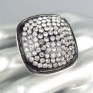 BOLD CHUNKY Silver Black Lucite CZ Crystals Square Stretch Fashion Ring