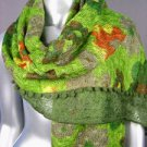 STYLISH Green Multicolor Floral Crochet Knit Weave Fashion Scarf