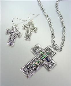 CLASSIC Brighton Bay Silver Filigree Mother of Pearl Shell Cross Necklace Set