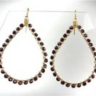 GORGEOUS Dark Red Garnet Black Crystals Peruvian Beads Gold Chandelier Earrings