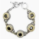 GORGEOUS Designer Silver Gold BALINESE Black Onyx CZ Crystal Links Bracelet