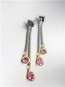 GORGEOUS Silver Box Cable Chain Gold Pink Rose Crystals Dangle Earrings