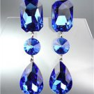 GLITZY Sapphire Blue Czech Crystals LONG Bridal Queen Pageant Prom Earring