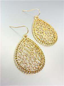 GORGEOUS Urban Anthropologie Gold Lattice Metalwork Tear Drop Dangle Earrings