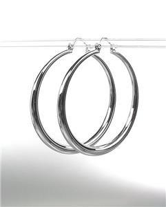 "CLASSIC Graduated SILVER Metal 1 1/8"" Round Hoop Pincatch Earrings"