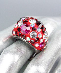 CHUNKY Sparkle Red Fuchsia Crystals Oval Dome Stretch Cocktail Ring