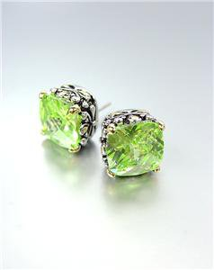 Designer PETITE Silver Gold Balinese Filigree Peridot Green CZ Crystal Earrings