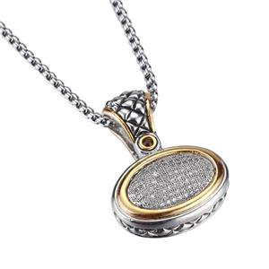 CLASSIC Designer Style Balinese Silver Pave CZ Crystals Pendant Necklace 759