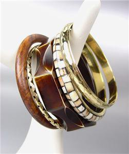 CHIC 5 PC Natural Brown Wood Brass Horn Resin Bangle Bracelet