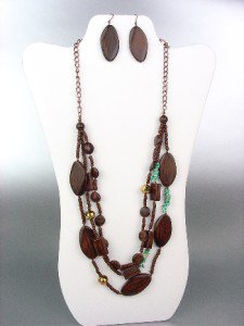Urban Anthropologie Brown Wood Beads Turquoise Stones Crystals Long Necklace Set