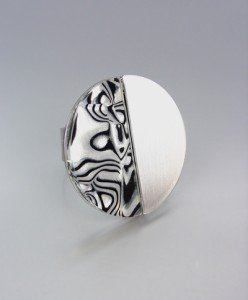 NATURAL Mother of Pearl Shell Inlay Silver Satin Metal Ring