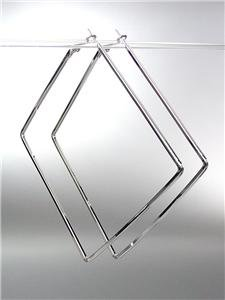 CHIC Basketball Wives Style Thin SILVER Metal LARGE Square Hoop Post Earrings