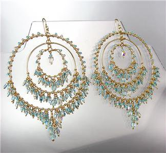 EXQUISITE Iridescent Blue Topaz Crystals Gold Chandelier Peruvian Earrings