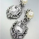 GORGEOUS & STUNNING Urban Anthropologie Emerald Crystal Pearl Antique Earrings