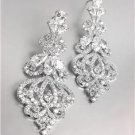 EXQUISITE Designer Style 18kt White Gold Plated CZ Crystals Chandelier Earrings