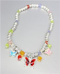 ADORABLE Multicolor Enamel BUTTERFLY Charms Beads Stretch Anklet