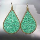 CHIC Turquoise Peruvian Crystals Beads Gold Metal Chandelier Dangle Earrings
