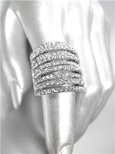GORGEOUS SHIMMER 9 Rows CZ Crystals Silver Plated Cocktail Statement Ring