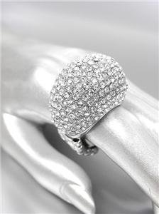 EXQUISITE STUNNING Chunky Silver Pave CZ Crystals Dome Stretch Cocktail Ring