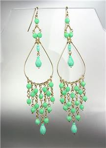 "GORGEOUS Turquoise Crystals Peruvian Beads Gold Chandelier 4"" Dangle Earrings"