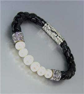 CLASSIC Designer Style Genuine Creme Pearls Black Cord Balinese Bracelet