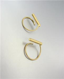 CHIC Minimalist Urban Anthropologie Mat Burnished Gold BAR Twist Wire Earrings