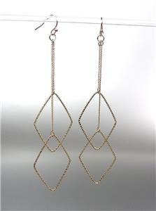 "CHIC Urban Anthropologie Gold Plated Diamond Chain 4 1/4"" Long Dangle Earrings"