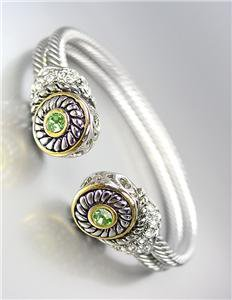 CLASSIC Designer Style Double Silver Cables Peridot Green CZ Crystals Bracelet