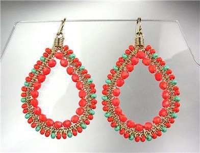 GORGEOUS Coral Red Crystals Turquoise Peruvian Beads Gold Chandelier Earrings