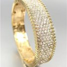 EXQUISITE SHIMMER Gold Pave CZ Crystals Stretch Links Bangle Bracelet