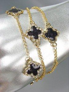 NEW 18kt Gold Plated Chains Black Enamel Clover Clovers CZ Crystals Bracelet