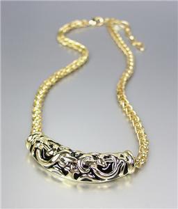 CLASSIC Brighton Bay Gold Black Filigree Medallion Cable Chain Necklace