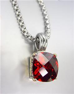 Designer Style Silver Gold BALINESE Red Garnet CZ Crystal Pendant Chain Necklace