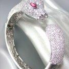 Designer Style 18kt White Gold Plated Pave CZ Crystals Leopard Cuff Bracelet