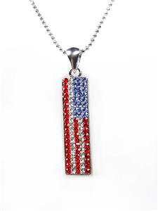 SHIMMERY Red Clear Blue Swarovski Crystals Patriotic USA American Flag Necklace