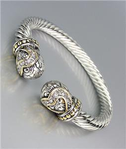 *NEW* Designer Style Silver Balinese Filigree CZ Crystals End Tips Cuff Bracelet