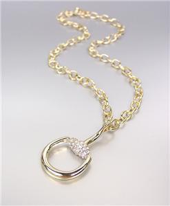 CHIC & STYLISH Designer Style Gold CZ Crystals Horsebit Pendant Chain Necklace