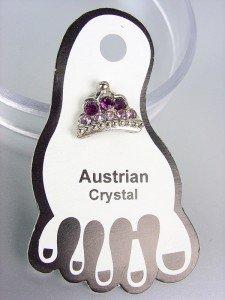 ADORABLE Purple Austrian Crystal TIARA Invisible PETITE Toe Ring