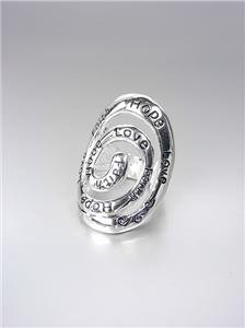 INSPIRATIONAL Scripture Silver Oval Scroll HOPE FAITH LOVE Filigree Stretch Ring