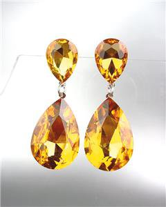 GLITZY Golden Brown Czech Crystals Bridal Queen Pageant Prom Earrings 2631