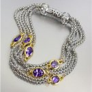 GORGEOUS Silver Box Chain Cables Purple CZ Crystals Magnetic Clasp Bracelet