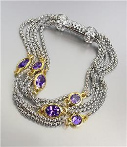 GORGEOUS Silver Box Chain Cables Purple CZ Crystals Magnetic Clasp Bracelet