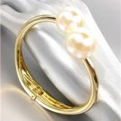 GORGEOUS Glistening Chunky Creme Pearls Gold Metal Hinged Cuff Bracelet