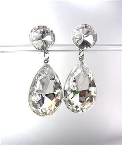 GLITZY SHIMMER Clear Czech Crystals Bridal Queen Pageant Prom CLIP Earrings
