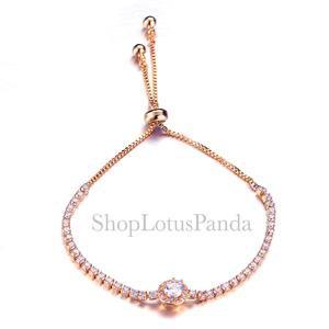 EXQUISITE 18kt Rose Gold Plated Princess CZ Crystal Crystals Links Bracelet