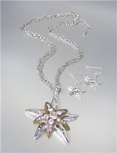 NEW Chunky Brighton Bay Silver Gold CZ Crystals Starfish Necklace Earrings Set