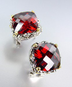 Designer Style Silver Gold Balinese Filigree Red Garnet CZ Crystal Earrings