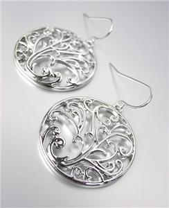 CLASSIC Brighton Bay Silver Filigree Texture Dangle Earrings