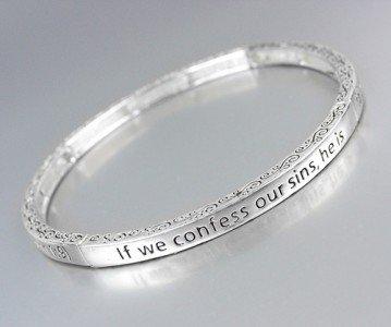 Inspirational Scripture 1 JOHN 1:9 Stretch Stackable Bracelet
