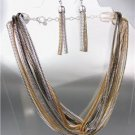 CHIC & UNIQUE Silver Gold Hematite Metal ZIPPER Chains Necklace Earrings Set